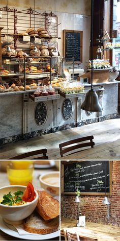 Le Pain Quotidien serves simple, elegant boulangerie fare made with organic ingredients whenever possible, for breakfast, lunch and dinner Bakery Cafe, Cafe Restaurant, Restaurant Design, Bakery Design, Cafe Design, Design Design, Cafe Shop, Cafe Bar, Bakery Interior