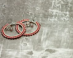 Red and White Beaded Hoop Earrings by ThreeFatesDesign on Etsy, $30.00