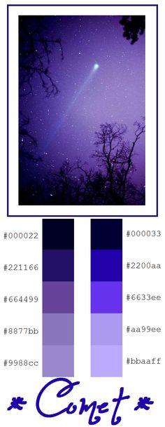Comet Palette - Galaxy - Night Sky - Shooting Star - Purple, Blue, Black, White
