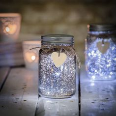 Sparkle LED Jam Jar Light These beautiful painted LED glass jars act as holders for a bright source of… Source by alyciamitchell. Mason Jar Crafts, Mason Jar Diy, Mason Jar Centerpieces, Painting Glass Jars, Fireflies In A Jar, Starry Night Wedding, String Lights Outdoor, Jar Lights, Wooden Hearts