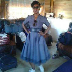 Turquoise Shweshwe Uniform Dresses For Fitted shweshwe dress with bell sleeves. Off Shoulder shweshwe top with skirt. Sotho Traditional Dresses, African Traditional Wedding Dress, Traditional Outfits, African Lace Dresses, African Fashion Dresses, Dress Fashion, African Outfits, African Attire, African Wear
