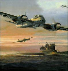 Junkers Ju-88A-5 of the V Gruppe/Kamptgeschwader 40 over flying a U=Boat in the Gulf ofVizcaya