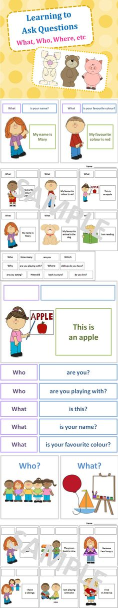 Question Words & Ask Questions Activity + Flashcards - This package teaches children the question words (Eg. Who, Where, Why) and the format of asking different types of questions (Eg. Who are you? Where are you, etc.) Repinned by SOS Inc. Resources pinterest.com/sostherapy/.