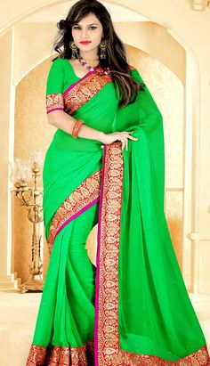 Bollywood Latest Green Chiffon #DesignerSaree,