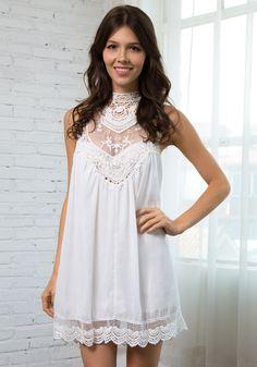 White Lace Chiffon Mini - Mesh Crochet Delicate at Front