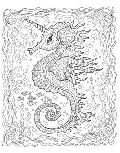 Explore whimsical underwater worlds! Welcome to Zendoodle Coloring! Make your world more colorful with free printable coloring pages from italks. Our free coloring pages for adults and kids. Mandala Coloring Pages, Animal Coloring Pages, Coloring Book Pages, Coloring Pages For Grown Ups, Printable Adult Coloring Pages, Mandala Art, Colorful Drawings, Patterns, Seahorses