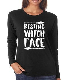 SignatureTshirts Black Resting Witch Face Long-Sleeve Tee | zulily