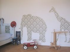 Love the idea of animals out of wallpaper for a kids room!