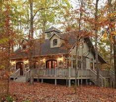 Maison de Crique Cabin in Broken Bow, Oklahoma Welcome to Maison de Crique, a French inspired cottage on the creek. Nestled among the beautiful oak trees, Plan Chalet, Haus Am See, Cabin In The Woods, Log Cabin Homes, Log Cabins, Log Cabin Plans, Mountain Cabins, Barn Plans, Mountain Homes