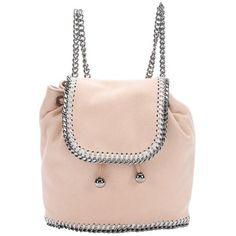 Stella McCartney Nude shaggy deer mini 'Falabella' chain backpack (21 495 UAH) ❤ liked on Polyvore featuring bags, backpacks, handbags, miniature backpack, pink mini backpack, mini backpack, stella mccartney and stella mccartney bags