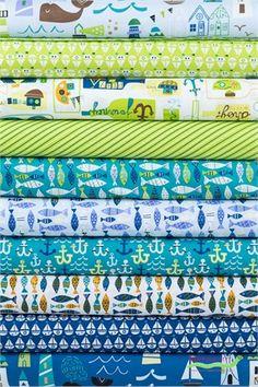 Windham Fabrics, Seaside in FAT QUARTERS 10 Total