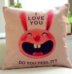 cute pillows on sofa | Sofa Pillow Cute Pink Rabbit Laughter Throw Pillow For Kids