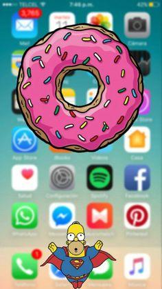 """""""Donut-App"""" Source by g_damsch Wallpaper World, Apple Wallpaper, Tumblr Wallpaper, Screen Wallpaper, Cool Wallpaper, Mobile Wallpaper, Simpson Wallpaper Iphone, Cartoon Wallpaper Iphone, Walpaper Iphone"""