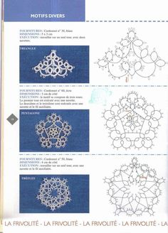 Tatting Lace (Winter) 冬にぴったりな雪の結晶やオーナメントに使えそうなタティングレースの 編み図を集めました。  クリスマスに向けて皆さんも作ってみてください^^        Snowflake(雪の結晶)           このスノーフレークの編み図はこちら ハートも可愛い!                       タッティングクリスマスツリー & 天使  オーナメント