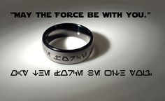 """""""May the Force be With You"""" Aurebesh Jedi Tungsten Carbide Men's Ring"""