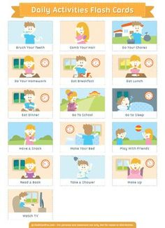 Free printable daily activities flash cards. Download them in PDF format at http://flashcardfox.com/download/daily-activities-flash-cards/