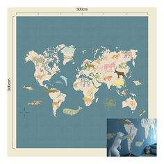 Popular Tapetenwandbild uXL Weltkarte u blau beige xcm