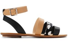 Loeffler Randall's Simona sandals combine tan. black, and print in the chicest possible way.