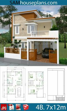 House Plans with 4 Bedrooms Plot - Sam House Plans House Plans with 4 Bedrooms Plot This villa is modeling by SAM-ARCHITECT With 2 stories level. It's has 4 bedrooms and 3 Bathrooms. Small Modern House Plans, 3d House Plans, Model House Plan, House Layout Plans, Duplex House Plans, Minimalist House Design, Simple House Design, House Front Design, Modern House Design