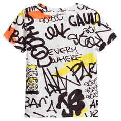 Boys White T-Shirt with Street Art Graffiti, Junior Gaultier, Boy