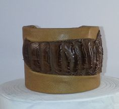 Cuff Bracelet with Ostrich Legg Leather Detail