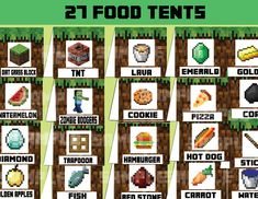 8-Bit Food Tents, Minecraft Party Ideas – INSTANT DOWNLOAD ...