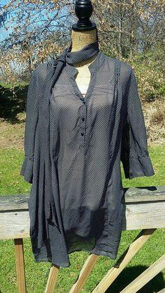 Lane Bryant Polka Dot Black White Tunic Top Blouse Women's Plus 22/24 w Neck Tie #LaneBryant #Tunic