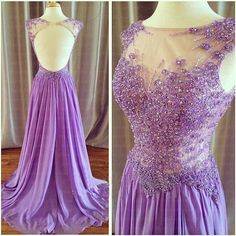 Lilac A-line Backless Beaded Appliques Long Prom Dresses, Formal Dress,Evening Dress,Long Party Homecoming Pageant Dress