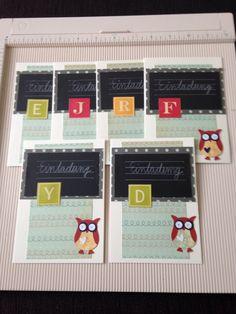 Einladungskarten zum Schulanfang, Eulenstanze von stampin up