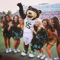 Baylor's mascot Bruiser and the Songleaders! #SicEm