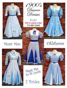 Dresses perfect for Music Man, Meet Me in St. Louis, and Oklahoma. Theatrical costumes