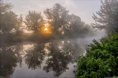 Early in the morning on the Udy river in Kharkiv region, Ukraine