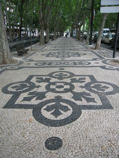 Sidewalk art in Lisbon - cobblestone pavements -  Av. da Liberdade - #Portugal