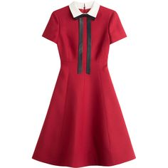 Valentino Wool-Silk Dress (3,469,310 KRW) ❤ liked on Polyvore featuring dresses, vestidos, valentino, red, red cocktail dress, silk cocktail dress, collar dress, red wool dress and back zipper dress