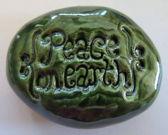PEACE ON EARTH Pocket Stone  Green Art Glaze  by InnerArtPeace, $6.00