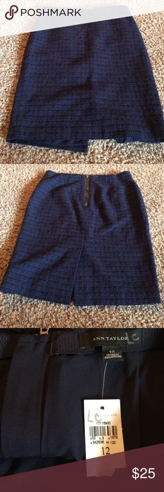 Ann Taylor knee length skirt Navy blue Ann Taylor knee length skirt• zipper on the back• size 12• cotton/poly blend• tags are still attached Ann Taylor Skirts A-Line or Full
