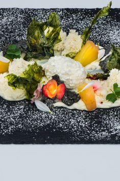 'The yoghurt meets the sea' – rosemary and yoghurt ice cream with yoghurt sponge, pineapple and caramelised seaweed