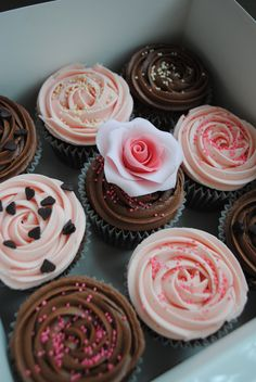Beautifully frosted box of cupcakes Rosette Cupcakes, Fancy Cupcakes, How To Make Cupcakes, Cupcake Recipes, Cupcake Cakes, Cupcake Ideas, Cupcake Decorations, Baby Cakes, Cookie Ideas