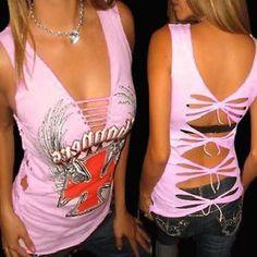 Demi Loon DIY Biker Tattoo Wings Motorcycle Choppers Sexy Tee Top 3 x s M 2 x L | eBay
