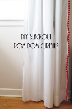 inspired by these pottery barn kids pom pom sheer curtain panels and these pbteen pom pom blackout drapes i diyu0027d a pair of ikea vivan these