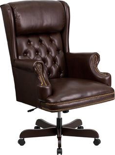 Flash Furniture CI-J600-BRN-GG High Back Traditional Tufted Brown Leather Executive Office Chair