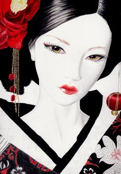 Geisha Drawing - Geisha Fine Art Print