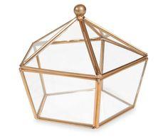 Pentagon Geometric Terrarium Box With Hinged Lid, Glass Jewelry Box, Wedding Ring Box, Gold Glass Box by MoulinEnFolie on Etsy