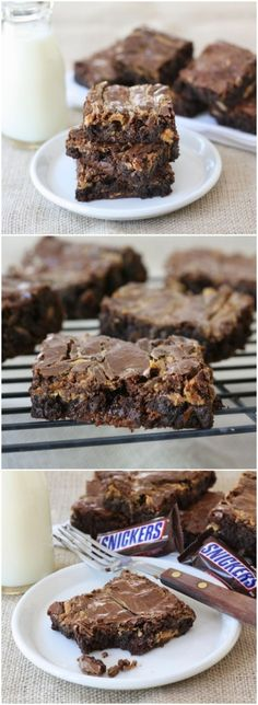 Peanut Butter Snickers Brownie Recipe on twopeasandtheirpod.com These brownies are amazing! A must make!