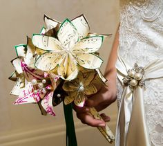 Music and 2 Lilies Bridal Bouquet- 11 inch, 20 flowers, custom wedding, origami, handmade, destination wedding, bride, non traditional via Etsy