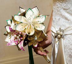 Music and 2 Lilies Bridal Bouquet- 11 inch, 20 flowers, custom wedding, origami, handmade, destination wedding, bride, non traditional via Etsy