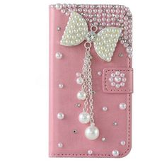 Bow Case For Samsung S3 S4 S5 S6 Edge Plus 3D Bling Premium Leather Crystal Diamond Rhinestone Flip Wallet Cover Case
