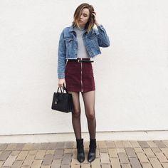 denim jacket, striped turtleneck, suede skirt, boots, ysl bag