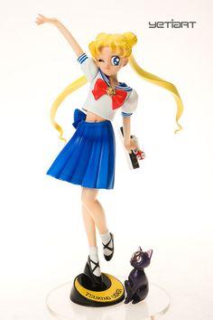 School girl Usagi with Luna Hand Painted Resin Model Sailor Moon Yetiart Figure
