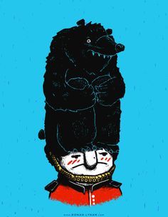 Queen's Guard Hates Hat - 2014 / Ronan Lynam #england #tshirt #threadless #shirts #illustration #bears #bear #animals #cuteanimals #london #queensguard #hats #funnyanimals #UK #greatbritain #british #blue #cute #lol #originalcontent #aritst #art #artwork